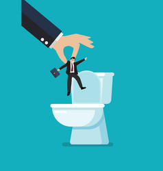Hands throw a business man in toilet bowl vector