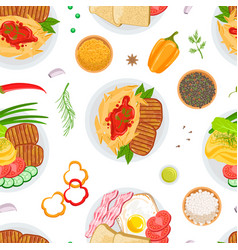 healthy delicious food seamless pattern grilled vector image