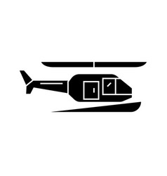 helicopter black icon concept helicopter vector image