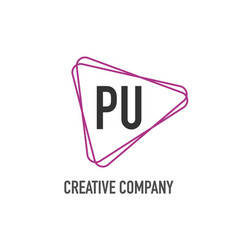 initial letter pu triangle design logo concept vector image