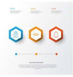 internet icons set collection bell safeguard vector image