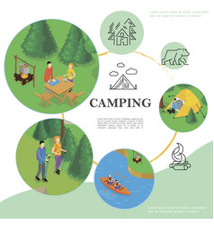 isometric travel and tourism template vector image