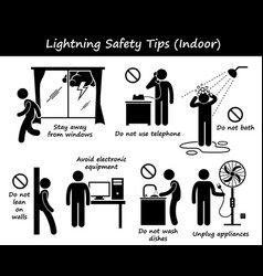 Lightning thunder indoor safety tips stick figure vector