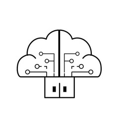 Line brain cloud data with circuits and door vector