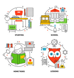Linear education icons set vector