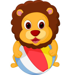 lion cartoon playing ball vector image