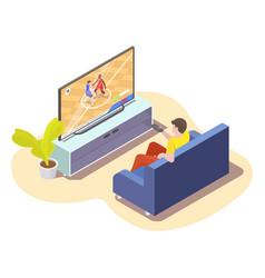 Man watching basketball match translation on tv vector