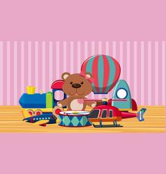 Many cute toys on wooden floor vector