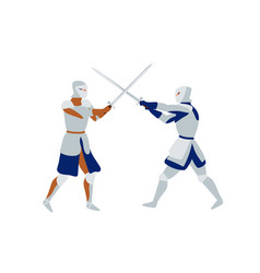 Medieval warriors fighting flat vector