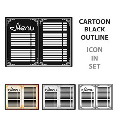 menu of the restaurant icon in cartoon style vector image