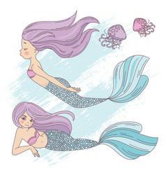 Mermaid life cartoon travel tropical vector