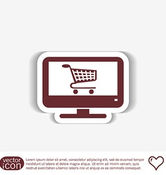 monitor with symbol shopping cart icon online vector image