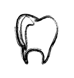 monochrome hand drawn sketch of tooth vector image