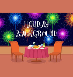 Open-air restaurant with fireworks vector