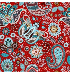Paisley seamless pattern floral background vector