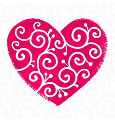 Pink painted heart with white ornament vector