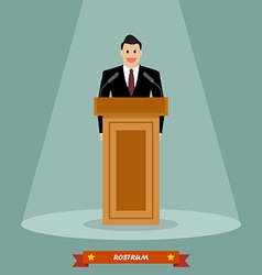 Politician man standing behind rostrum and giving vector