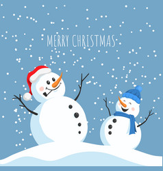 postcard with happy snowmans christmas card vector image