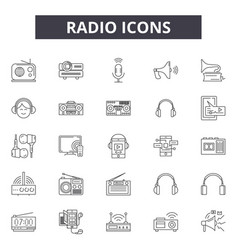radio line icons signs set outline vector image
