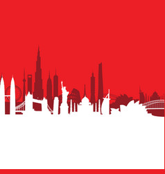 Red cityscape background vector