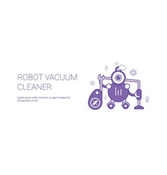 robot vacuum cleaner template web banner with copy vector image