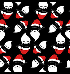 santa claus with red hat and white beard seamless vector image