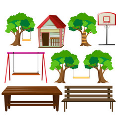 Seats and things in garden vector