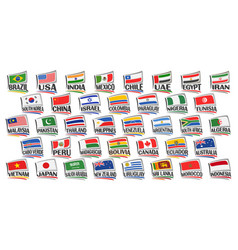 set american and asian countries flags vector image