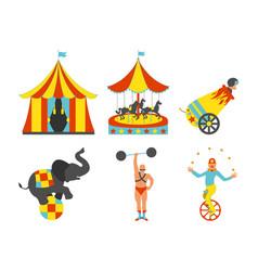 Set of circus icon vintage clip art set vector