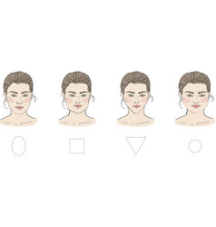 set of different female face shapes with vector image