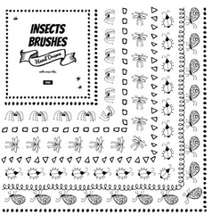 Set of doodle decorative brushes hand drawn ink vector