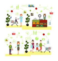 set of people shopping flat symbols icons vector image