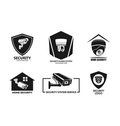 set simple home security alarm system service logo vector image