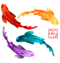 set with fish vector image