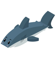 Shark in 3d design vector