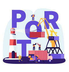 Shipping port concept harbor crane loading vector
