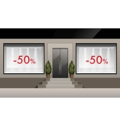 Shop Building with Glass Showcase discounts vector image vector image