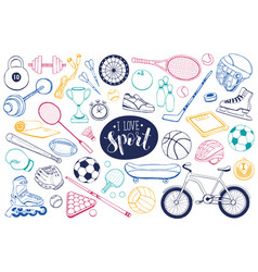 Sport equipment sketches vector