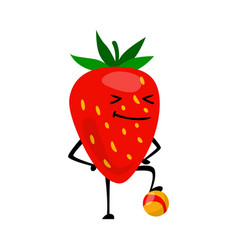 Sport strawberries character playing football vector