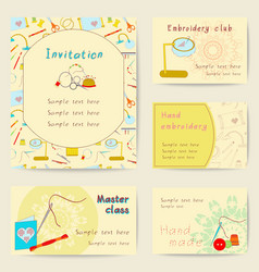 Stock set printable cards of embroidery device vector