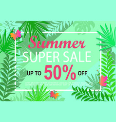 Summer super sale jungle background vector