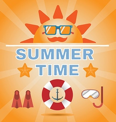 Summer Time Orange Banner vector image
