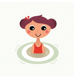 Swimming summer girl retro cartoon vector image