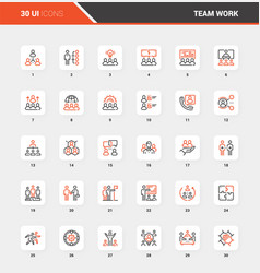 Team work flat line web icon concepts vector