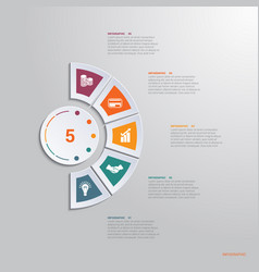 template infographic 5 positions for text area vector image