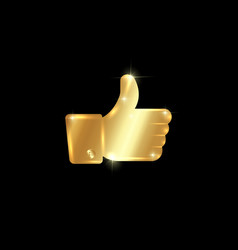 thumb up symbol golden finger up icon vector image