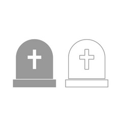 Tomb stone icon grey set vector