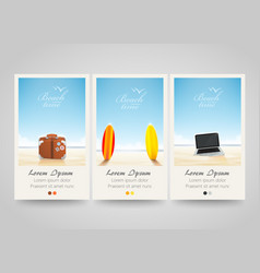 travel banner set with surf laptop bag vector image