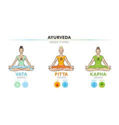 Vata pitta and kapha doshas yogi women vector