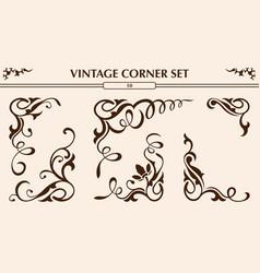 Vintage corner set vector